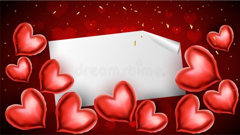 Κόκκινα μπαλόνια καρδιά-μορφής με το διάστημα κειμένων βαλεντίνος ημέρας s ελεύθερη απεικόνιση δικαιώματος