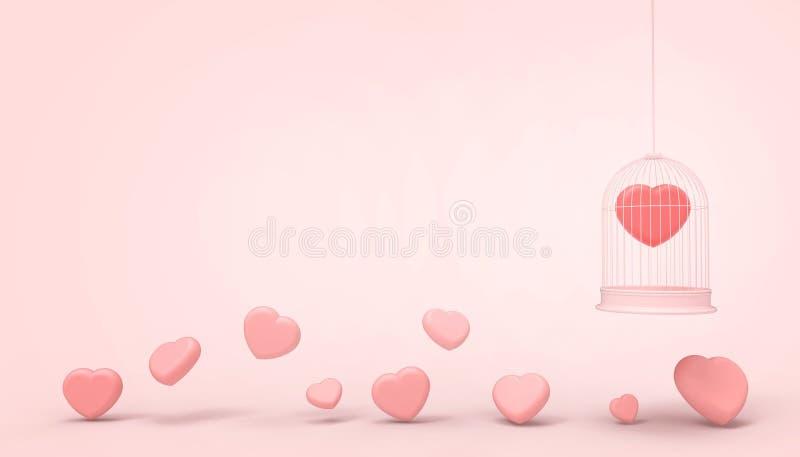Κόκκινα μπαλόνια καρδιών που παγιδεύονται σε ένα κλουβί και μια ρόδινη ελάχιστη ομάδα καρδιών, έννοια αγάπης - ύφος βαλεντίνων -  απεικόνιση αποθεμάτων