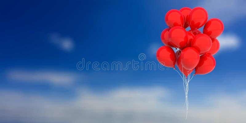 Κόκκινα μπαλόνια στο υπόβαθρο μπλε ουρανού τρισδιάστατη απεικόνιση απεικόνιση αποθεμάτων
