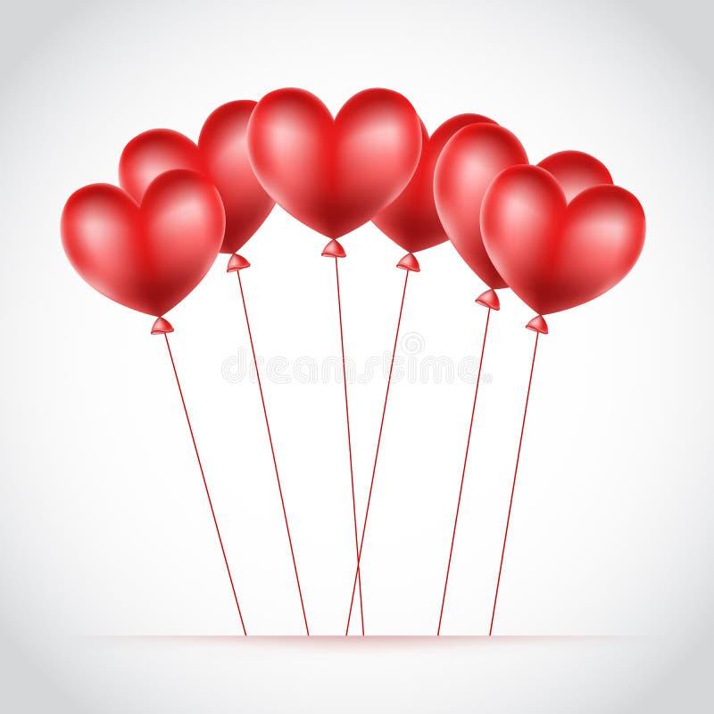 Κόκκινα μπαλόνια φιαγμένα από καρδιές διανυσματική απεικόνιση