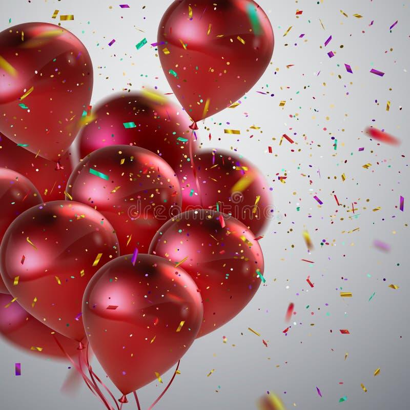 Κόκκινα μπαλόνια και κομφετί διακοπών ελεύθερη απεικόνιση δικαιώματος