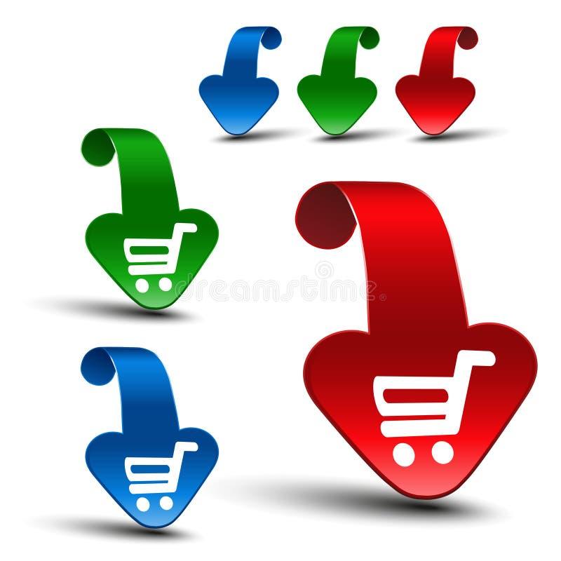 Κόκκινα, μπλε και πράσινα τρισδιάστατα βέλη με το απλό άσπρο σύμβολο του κάρρου αγορών - καροτσάκι Το στοιχείο, αγοράζει το κουμπ διανυσματική απεικόνιση