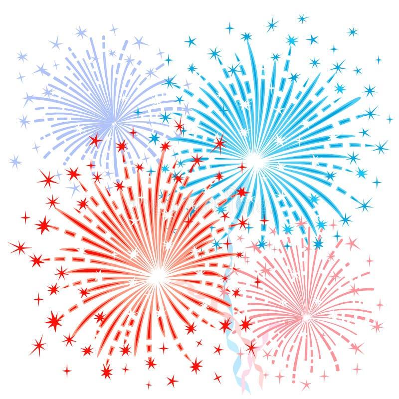 Κόκκινα μπλε πυροτεχνήματα ελεύθερη απεικόνιση δικαιώματος