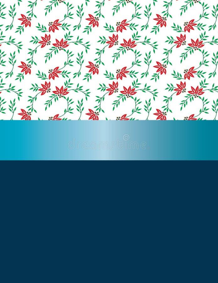 Κόκκινα λουλούδια σχεδίου και μπλε κορδέλλα απεικόνιση αποθεμάτων