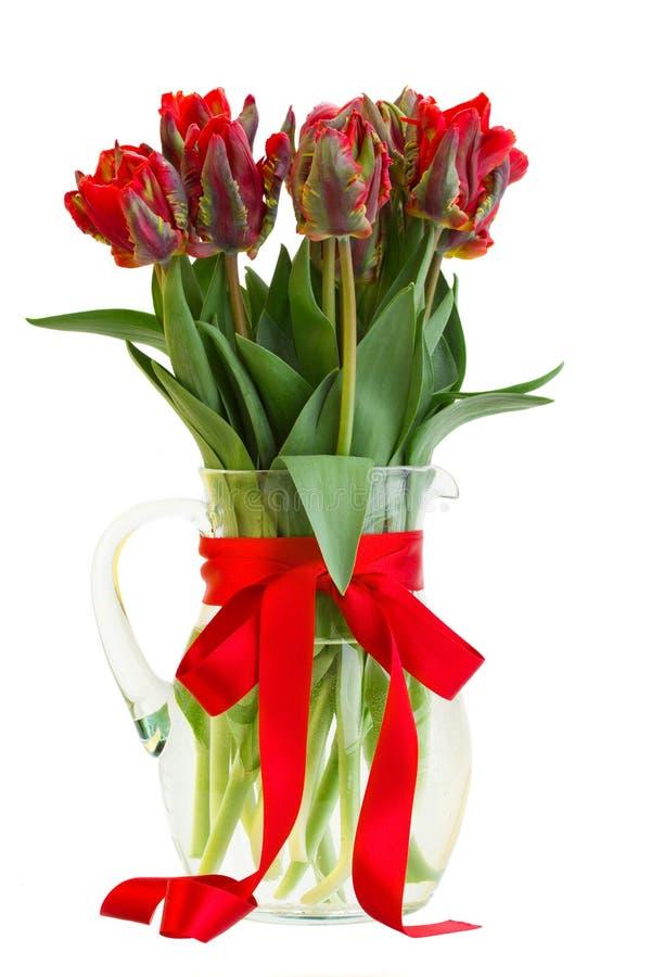 Κόκκινα λουλούδια τουλιπών άνοιξη στο βάζο στοκ εικόνα με δικαίωμα ελεύθερης χρήσης