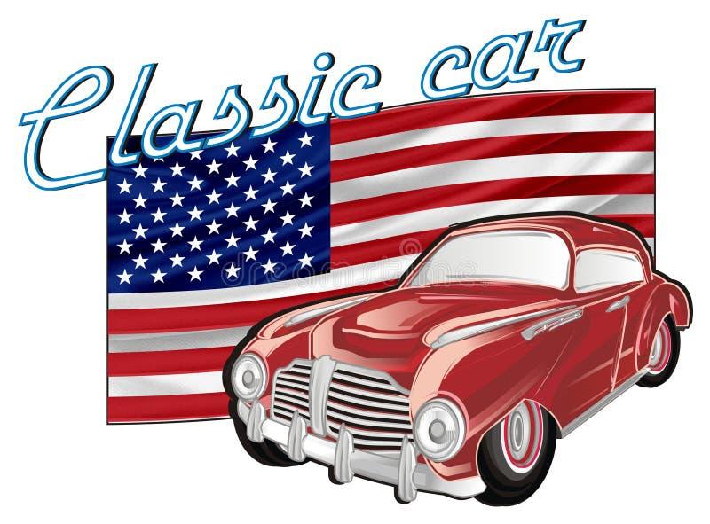 Κόκκινα παλαιά αυτοκίνητο και σημάδι ελεύθερη απεικόνιση δικαιώματος
