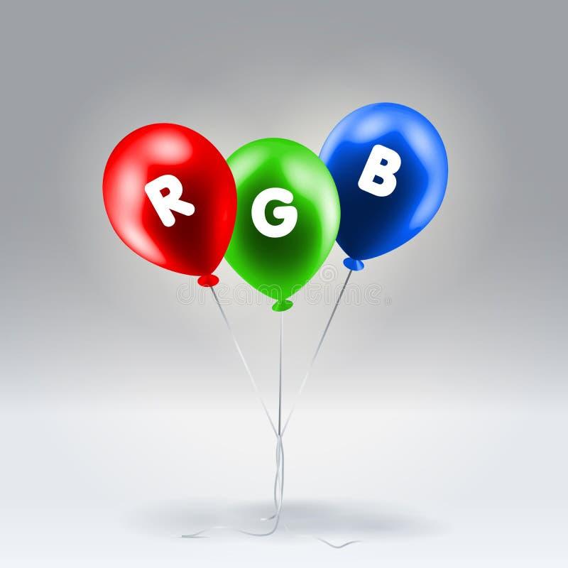 Κόκκινα πράσινα και μπλε διογκώσιμα μπαλόνια ελεύθερη απεικόνιση δικαιώματος