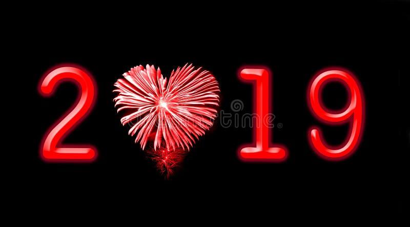 2019 κόκκινα πυροτεχνήματα με μορφή μιας καρδιάς στοκ εικόνες