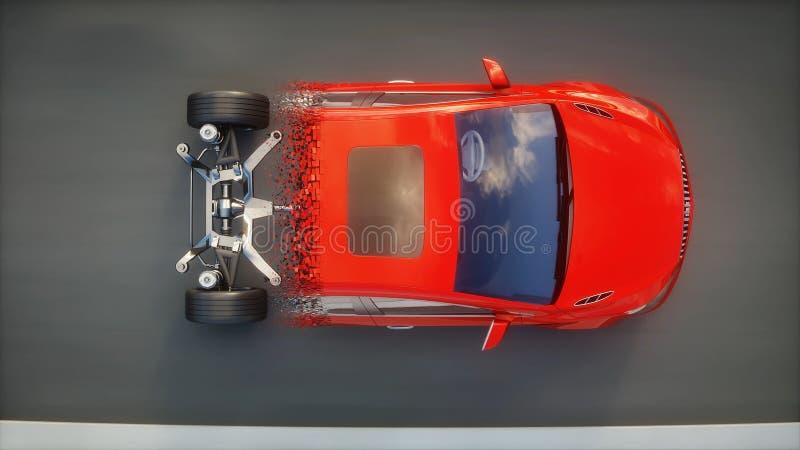 Κόκκινα πλαίσια αυτοκινήτων με τη μηχανή στην εθνική οδό Μετάβαση με τα μόρια Πολύ γρήγορα οδηγώντας ΑΥΤΟΜΑΤΗ έννοια τρισδιάστατη ελεύθερη απεικόνιση δικαιώματος
