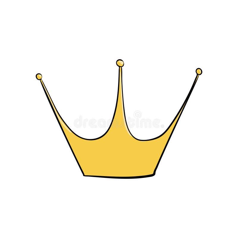 κόκκινα ρουμπίνια μαργαριταριών κορωνών χρυσά Ένα σύμβολο της αρχής Headpiece του βασιλιά Εικονίδιο που δείχνει την επιτυχία και  διανυσματική απεικόνιση