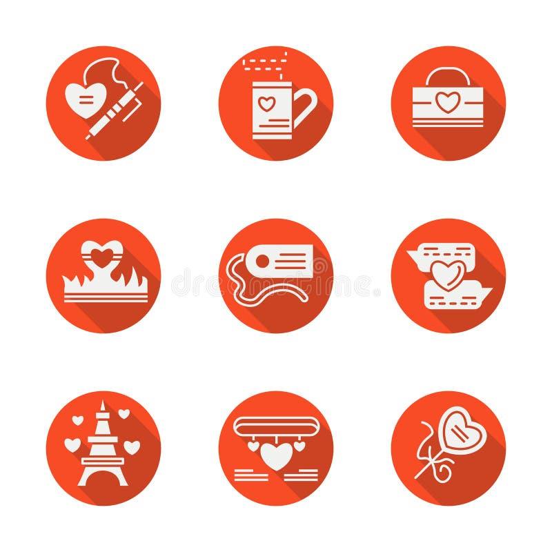 Κόκκινα στρογγυλά επίπεδα εικονίδια αγάπης καθορισμένα απεικόνιση αποθεμάτων
