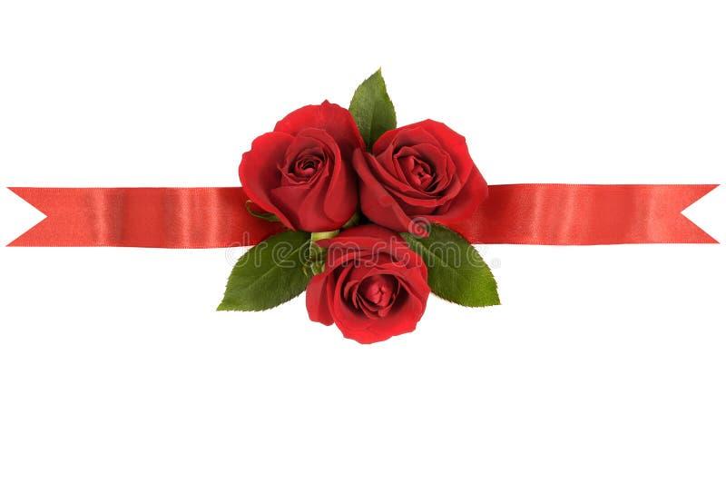 Κόκκινα σύνορα εμβλημάτων κορδελλών τριαντάφυλλων κατ' ευθείαν οριζόντια στοκ εικόνα με δικαίωμα ελεύθερης χρήσης