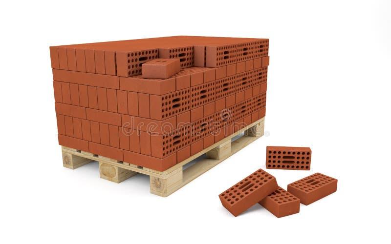 Κόκκινα τούβλα που συσσωρεύονται στην ξύλινη παλέτα ελεύθερη απεικόνιση δικαιώματος