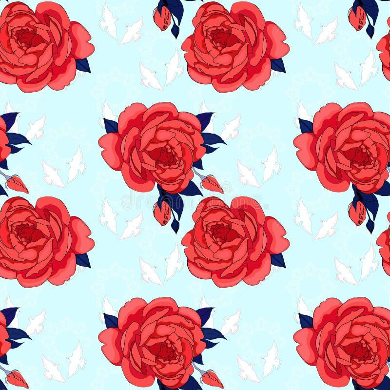 Κόκκινα τριαντάφυλλα, περιστέρι στον ουρανό απεικόνιση αποθεμάτων