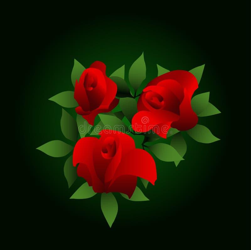κόκκινα τριαντάφυλλα διανυσματική απεικόνιση
