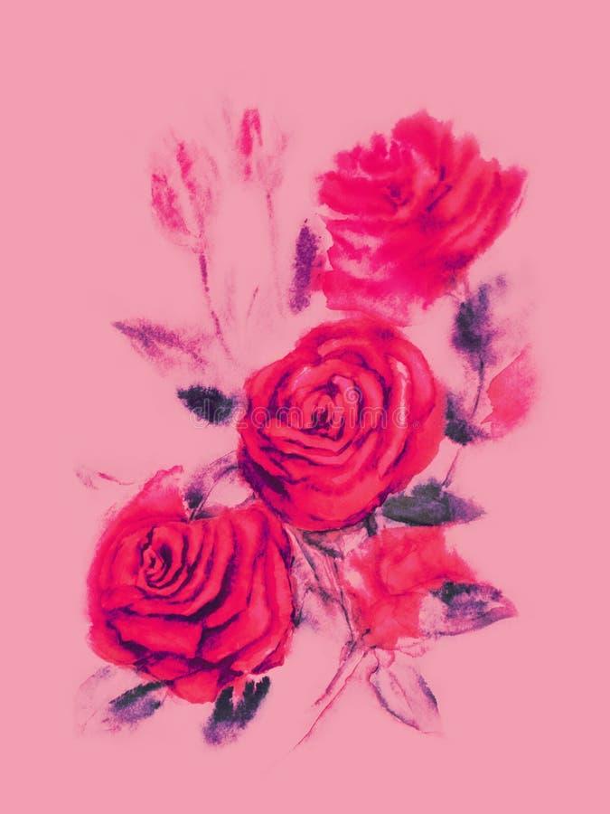 Κόκκινα τριαντάφυλλα - ζωγραφική watercolor στο ρόδινο υπόβαθρο απεικόνιση αποθεμάτων