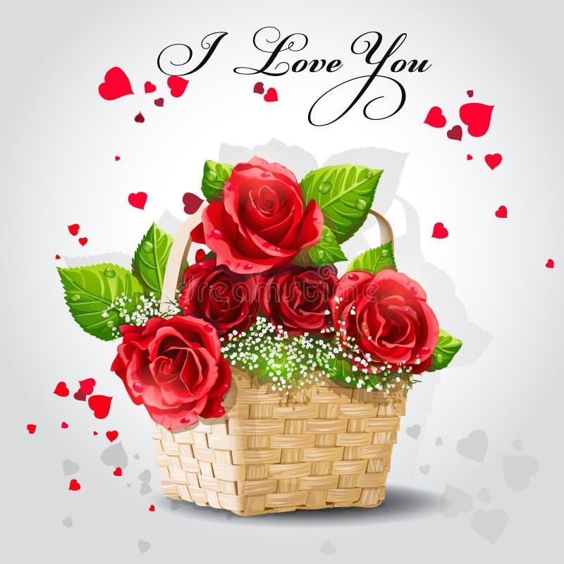 Κόκκινα τριαντάφυλλα σε ένα καλάθι σε ένα γκρίζο υπόβαθρο διανυσματική απεικόνιση