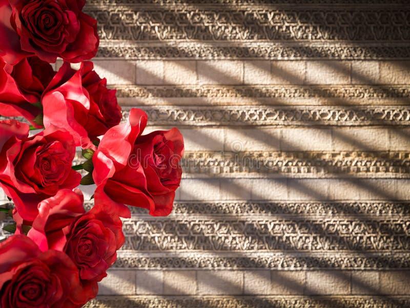 κόκκινα τριαντάφυλλα στο αρχαίο διακοσμητικό υπόβαθρο τοίχων στοκ εικόνα με δικαίωμα ελεύθερης χρήσης