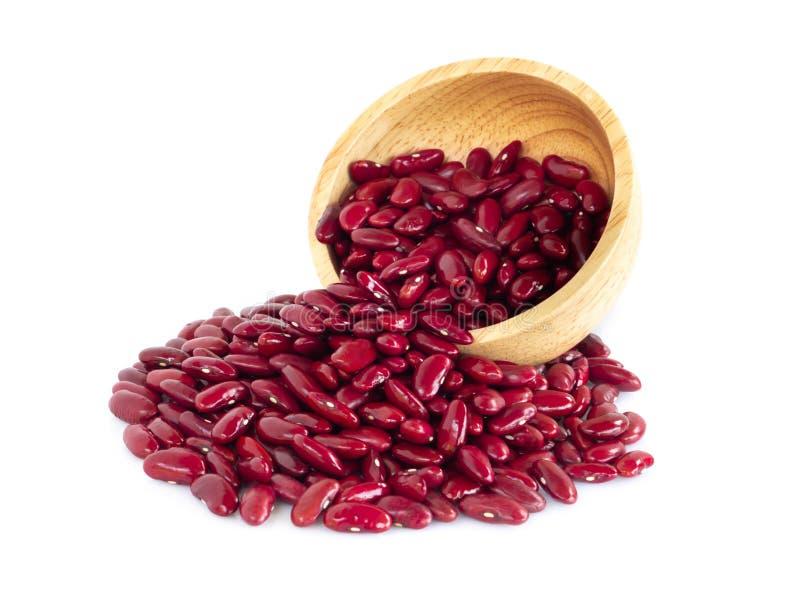 Κόκκινα φασόλια νεφρών στο ξύλινο κύπελλο που απομονώνεται στο άσπρο υπόβαθρο, υγιής έννοια τροφίμων στοκ φωτογραφία με δικαίωμα ελεύθερης χρήσης