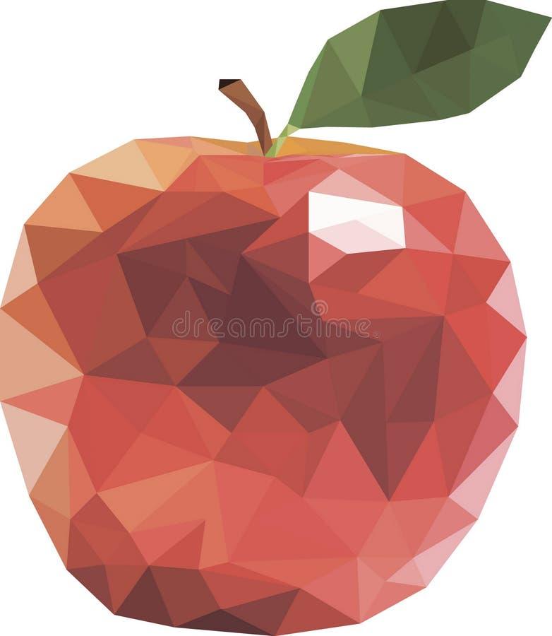 Κόκκινα φρούτα μήλων στο χαμηλό πολυ σχέδιο απεικόνιση αποθεμάτων