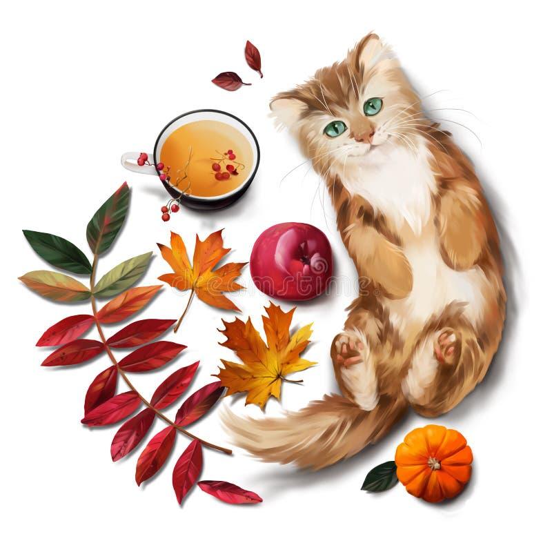 Κόκκινα φύλλα γατών, τσαγιού, μήλων και φθινοπώρου υψηλό watercolor ποιοτικής ανίχνευσης ζωγραφικής διορθώσεων πλίθας photoshop π ελεύθερη απεικόνιση δικαιώματος