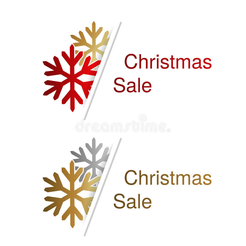 Κόκκινα, χρυσά και ασημένια snowflakes με την ετικέτα για τη διαφήμιση του κειμένου στο άσπρο υπόβαθρο, αυτοκόλλητες ετικέττες Χρ απεικόνιση αποθεμάτων
