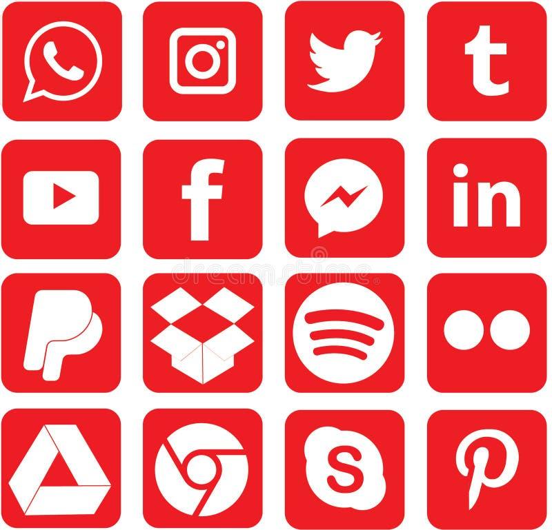 Κόκκινα χρωματισμένα κοινωνικά εικονίδια μέσων για τα Χριστούγεννα διανυσματική απεικόνιση