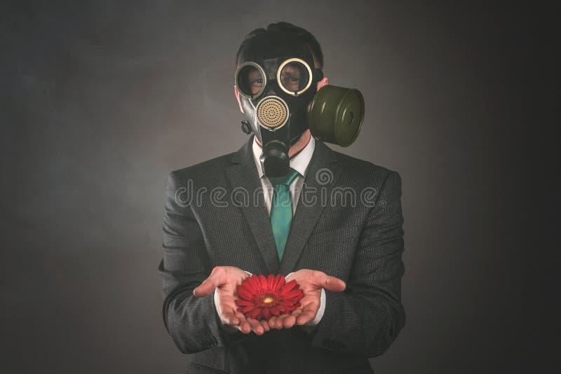 Κόκκινα gerbera και άτομο στη μάσκα αερίου στοκ εικόνα με δικαίωμα ελεύθερης χρήσης