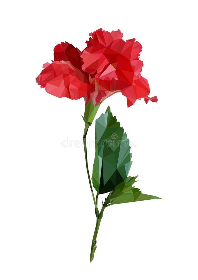 Κόκκινα hibiscus ή κινέζικα πολυγώνων αυξήθηκαν με τα φύλλα πολυ χαμηλό γεωμετρικό διάνυσμα λουλουδιών τριγώνων   απεικόνιση αποθεμάτων