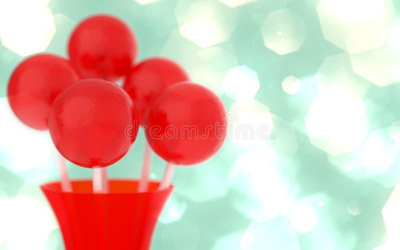 Κόκκινα lollipops στο κόκκινο βάζο, αναδρομικό υπόβαθρο, επίδραση πυράκτωσης bokeh, ρηχό DOF στοκ εικόνες