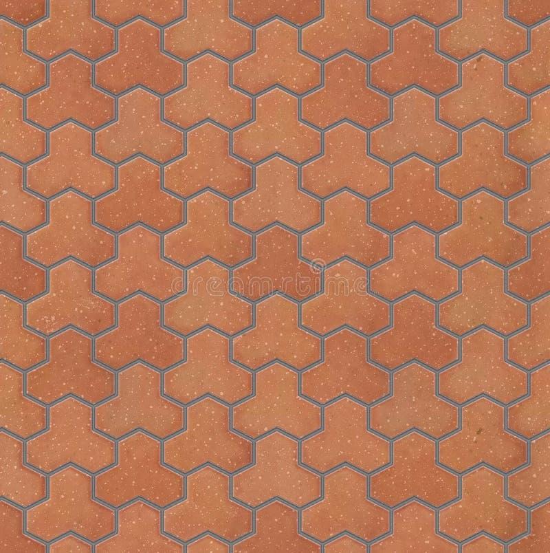 Κόκκινα pavers τούβλου ύφους Trihex, άνευ ραφής σύσταση στοκ φωτογραφίες