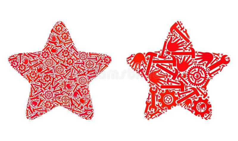 Κόκκινα Star1 εικονίδια μωσαϊκών των εργαλείων επισκευής ελεύθερη απεικόνιση δικαιώματος