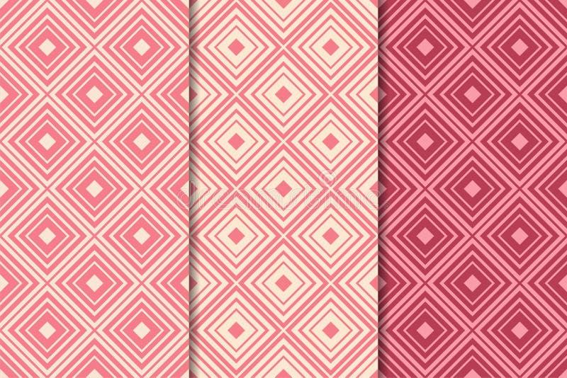 Κόκκινες γεωμετρικές διακοσμήσεις κερασιών άνευ ραφής σύνολο προτύπων απεικόνιση αποθεμάτων