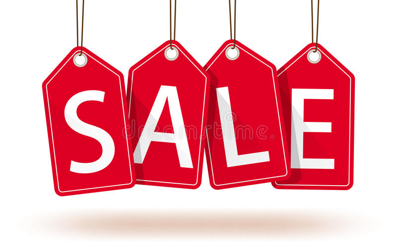 κόκκινες ετικέττες πωλή&sig διανυσματική απεικόνιση