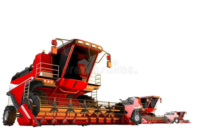 3 κόκκινες θεριστικές μηχανές σίκαλης που απομονώνονται στο άσπρο υπόβαθρο - καλλιεργήστε το όχημα, βιομηχανική τρισδιάστατη απει διανυσματική απεικόνιση