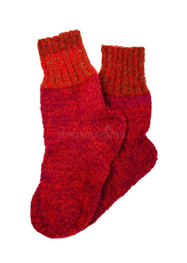 Κόκκινες κάλτσες μαλλιού στοκ εικόνα με δικαίωμα ελεύθερης χρήσης