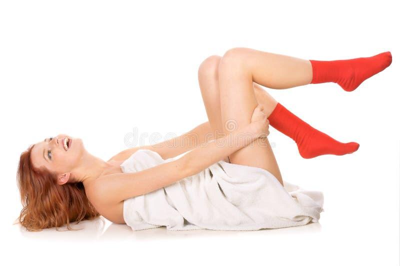 κόκκινες κάλτσες στοκ εικόνες