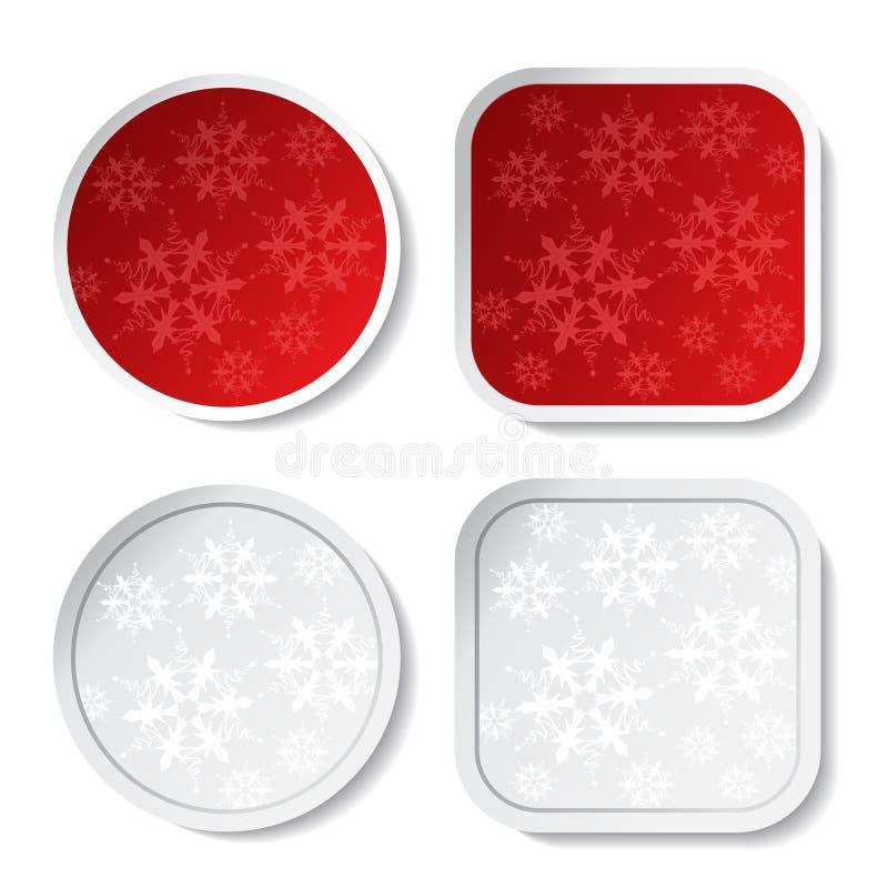 Κόκκινες και άσπρες αυτοκόλλητες ετικέττες Χριστουγέννων εγγράφου ελεύθερη απεικόνιση δικαιώματος