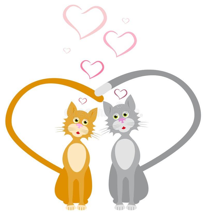 Κόκκινες και γκρίζες καρδιές γατών αγαπών διανυσματική απεικόνιση