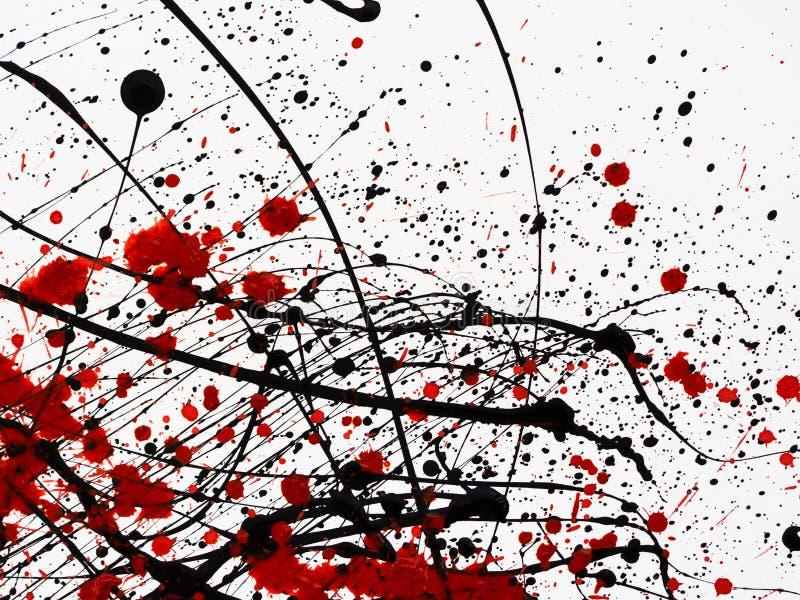 Κόκκινες και μαύρες σταλαγματιές χρωμάτων στο άσπρο υπόβαθρο ελεύθερη απεικόνιση δικαιώματος