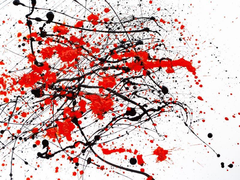 Κόκκινες και μαύρες σταλαγματιές χρωμάτων στο άσπρο υπόβαθρο διανυσματική απεικόνιση