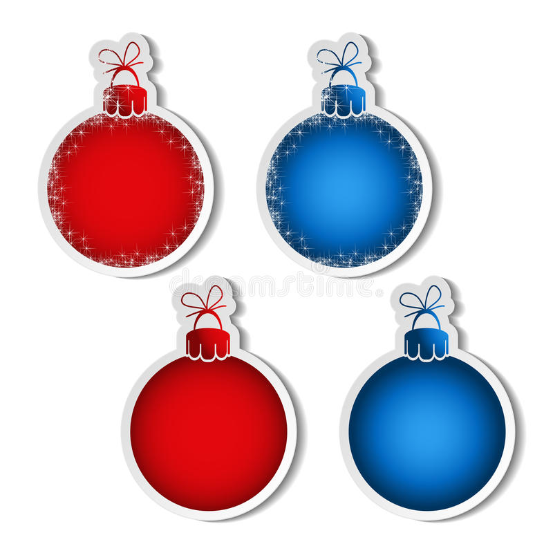 Κόκκινες και μπλε σφαίρες για τη διαφήμιση του κειμένου στο άσπρο υπόβαθρο, αυτοκόλλητες ετικέττες με τη σκιά απεικόνιση αποθεμάτων