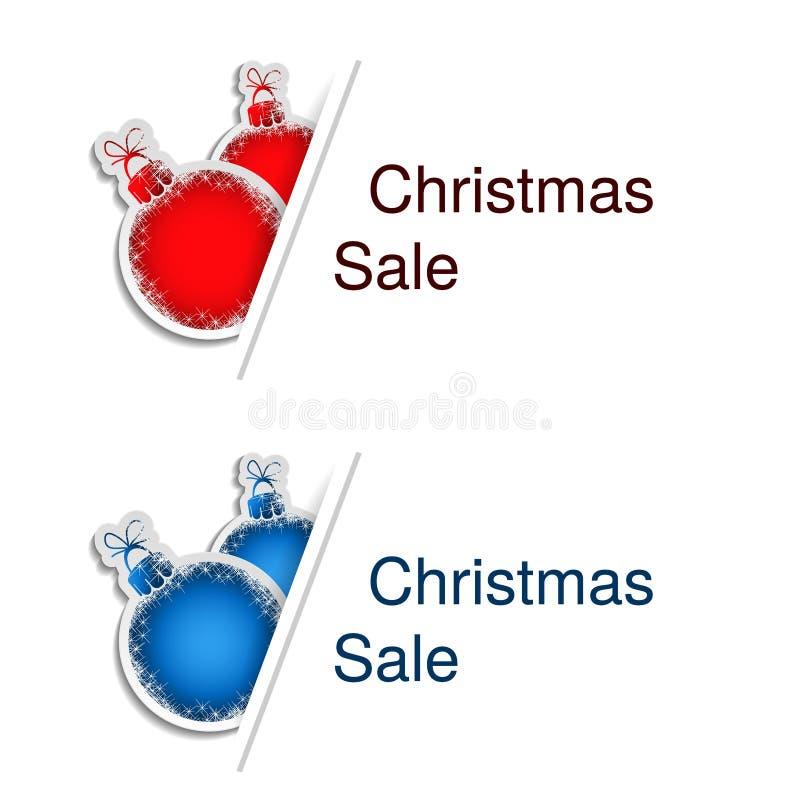 Κόκκινες και μπλε σφαίρες Χριστουγέννων με την ετικέτα για τη διαφήμιση του κειμένου στο άσπρο υπόβαθρο, αυτοκόλλητες ετικέττες μ απεικόνιση αποθεμάτων