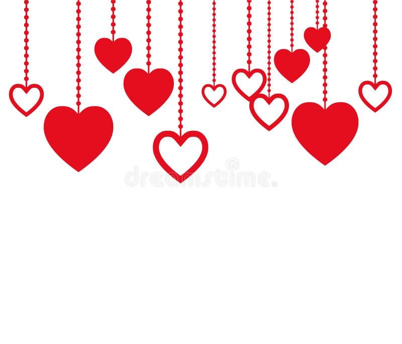 Κόκκινες καρδιές που κρεμούν στο σχοινί Γραφικός για την ημέρα βαλεντίνων Καθαρό και καλό σχέδιο για τις κάρτες διανυσματική απεικόνιση