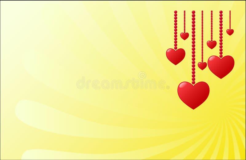 Κόκκινες καρδιές στις χάντρες, διανυσματική ευχετήρια κάρτα ημέρας του βαλεντίνου, διάστημα ελεύθερων κειμένων διανυσματική απεικόνιση