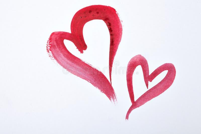 Κόκκινες καρδιές watercolor στη Λευκή Βίβλο Του ST ημέρα βαλεντίνων ` s στοκ φωτογραφίες