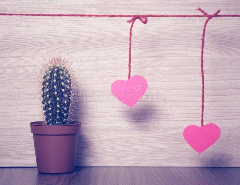 Κόκκινες καρδιές με έναν κάκτο στοκ φωτογραφίες