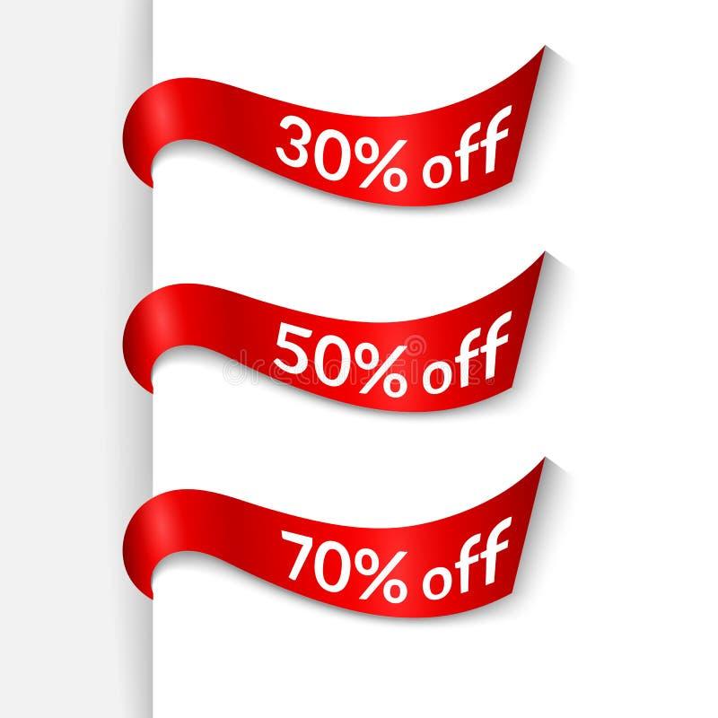 Κόκκινες κορδέλλες με το κείμενο 30% 50% 70% μακριά στο άσπρο απομονωμένο υπόβαθρο στοιχείο του σχεδίου της προώθησης αφισών εμβλ ελεύθερη απεικόνιση δικαιώματος