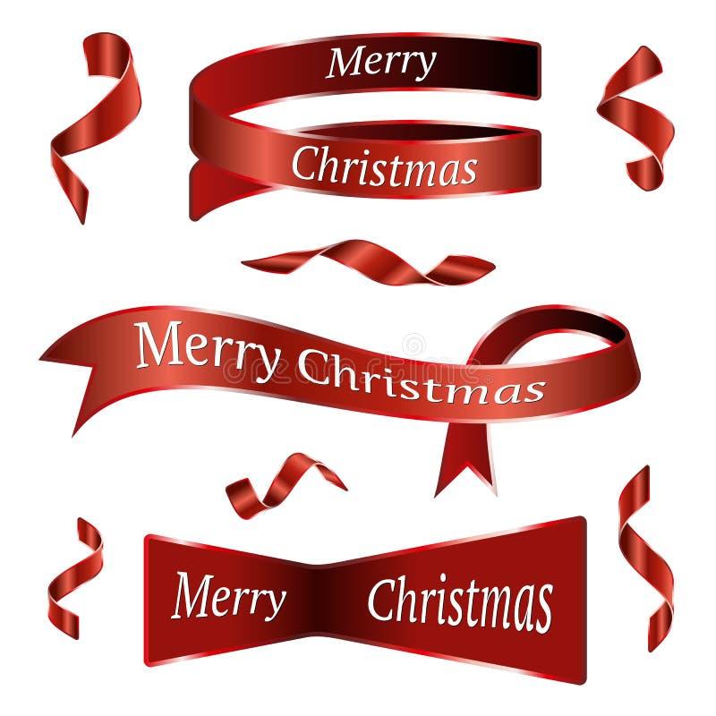 Κόκκινες κορδέλλες Χριστουγέννων καθορισμένες απεικόνιση αποθεμάτων