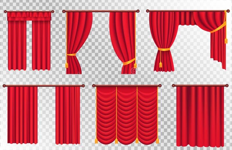 Κόκκινες κουρτίνες καθορισμένες Απεικόνιση κουρτινών θεάτρων διανυσματική απεικόνιση